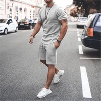 Men's Tracksuits Summer Men Casual Sports Suit Solid Tracksuit Shorts Sets Short Sleeve T Shirt +Shorts Sweatsuit Brand Clothing Sportswear