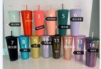 24 أوز دوريان شخصية ستاربكس قزحي الألوان بلينغ قوس قزح يونيكورن رصع كأس الباردة بهلوان القهوة القدح مع القش دي إتش إل fy4488