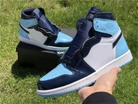 En Sıcak Otantik 1 S Yüksek OG WMNS UNC Basketbol Ayakkabı Kadınlar Için Obsidiyen Mavi Soğuk Beyaz Patent Deri Sneakers Orijinal
