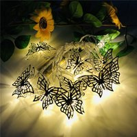 Borboleta de ferro forjado colorido LED String Fairy Light Decoração para Casa Party Wedding Christmas Tree Pendant