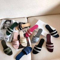 2021 Tasarımcı Deri Kadın Sandalet Yaz Düz Terlik Moda Plaj Kadın Büyük Kafa Gökkuşağı Harfleri Terlik Kutusu