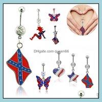Çan takı jewelryprevent alerjileri vücut piercing göbek düğmesi yüzükler güzel ulusal bayrak kelebek kolye göbek yüzük umbilikal çivi 29