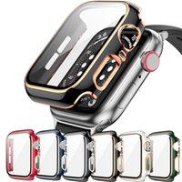 360 Protetor Full Screen Protetor Moldura Matte Difícil Caso para Apple Relógio 38/40 / 42 / 44mm Tampa Filme de vidro temperado Iwatch 6 / SE / 5/4/3
