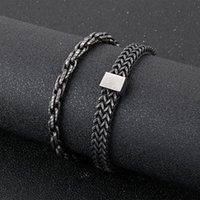 Link, Chain 6 8mm Width Retro Black Stainless Steel Bracelet For Men Personality Hip Hop Jewelry Armband Husband Boyfriend Gift Bracelets