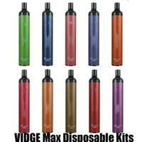정통 vidge 최대 일회용 전자 담배 장치 키트 2000 퍼프 850mAh 배터리 5ml 프리 쿼리 포드 vape 펜 스틱 시스템 100 % 원본