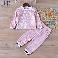 Humor Bear New Girls Clothing Sets Baby Winter Autumn Kids Clothes Outfit Long Sleeve Gold Velvet Children Kids Casual Suit 210430
