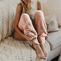 Womens Plush Pants Clothing Fashion Trend Comfortable Solid Color Loose High Waist Long Pant Designer Female Casual Wide Leg Trousers