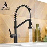 Wanfan moderno polido cromo bronze cozinha pia faucet pull single handle swivel spoul spoul show mixer tap 9013 210719