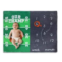 Sublimated Baby Born Milestone Blanket Month Basketball Soccer Flannel Child Kids Cover Blankets Champ Name Picture Sublimation Warm Soft Boy Girl