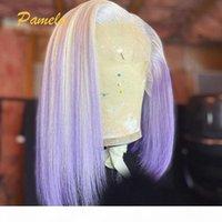 613 блондинка прямой кружевной фронт парик 13x6 т часть короткий боб парик кружева фронт человеческих волос Оммре фиолетовый боб фронтальный для чернокожих женщин