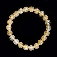 Frisado, Strands Charme Natural Stone Beads 8mm Tamanho Classic Imitação Citrino 7,5 polegadas Pulseira Piezoelétrico Cristal Ladies Jóias