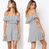 한 단어 어깨 드레스 여성 미니 짧은 폴카 도트 캐주얼 파티 백리스 패션 클럽 드레스