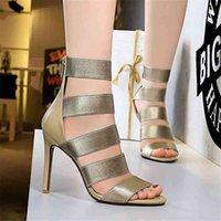 Kleidschuhe PenSamilo Plus Größe 42 43 Frauen Stiefel Sommer Aushöhlen Elastische Riemen High Heels Kurze Mode Gladiator Sandalen 79b