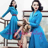 Damen Trenchmäntel Le Palais Limitierte Edition von Vintage Hohe Qualität Blauer dünner Rock Stretchgraben