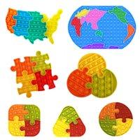 Mapa de los Estados Unidos Silicone Jigsaw Puzzle Toys Favor Fajo Pulsador TRES-Dimensional Pop IT Roedor Pioneer Rainbow Bubble Decompression Educativo Juguete