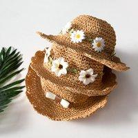 Ins Estate Flower Bow Cappelli per ragazze Girls Bambini Bambini Bambino Benna Benna Cappello fatto a mano Bambini Panama Vacation Beach Caps
