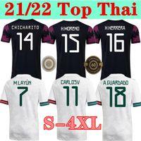 S-4XL Mexique Soccer Jerseys Copa America Camisetas 20 21 Chicharito Lozano Dos Santos Moreno Alvarez Guardado 2021 Football Shirts Homme + Kit Ensembles Kit