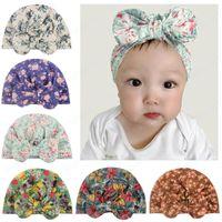 Печать больших лук тюрбана шляпы Newborn Baby Beanie Caps Girls фотография реквизит мягкий лук-узла шляпа малыша детские хлопковые шапочки головной шансы Accesso