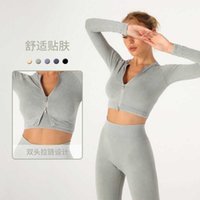 2021 new sand wash Yoga suit set women's fast drying clothes zipper sports tight sweat absorbing fitness clothes long sleeves