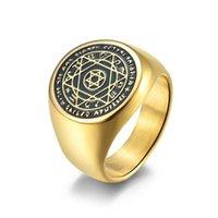 خواتم الزفاف Talisman Solomon ستة أشار ستار 12 كوكبة الفولاذ المقاوم للصدأ BNAD للرجال النساء حجم 7-12 #