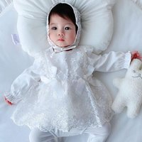 Girl's Dresses Spring And Autumn Kids Clothing Baby Girl Dress With Hat Infant Long-sleeve Flowers Born Princess Clothes