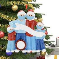 얼굴 마스크가있는 3/4/5/6의 격리 가족 수지 산타 크리스마스 장식 DIY 크리스마스 트리 펜던트 파티 장식 만화 장난감 파티 호의