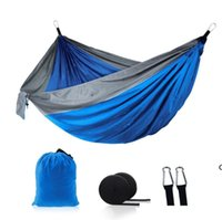 Hängematten doppelt leichte Nylon Hängematte Outdoor Parachute Hängematte Home Schlafzimmer Lazy Swing Stuhl Strand Hängematten Campe Rucksacking HWF6889