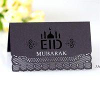 Eid Mübarek Parti Masa Kartı 100 adet / grup Ramazan Kağıt Oymak Düğün Festivali Koltuk Kartları Müslüman İslami Malzemeler DWE5695