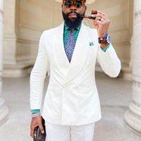 Men's Suits & Blazers Est Fashion Business Slim Fit Man White Shawl Lapel Groom Evening Tuxedo 2 Pcs Tailor-Made Wedding For
