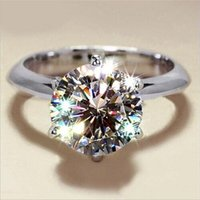 Rulalei Brand Classical Six Claw Jewelry Real 925 Sterling Silver Round Cut White Topaz CZ Diamond Gemstones 1CT Eternity Women Wedding Bridal Ring Never Fade