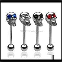 Bagues Piercing Bijoux Piercing Bijoux en acier inoxydable Crâne Skull Bague Nipple Noir NEQTB E54UU
