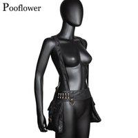 POOFLOWER Готический ГЭК повязка на шнурок на талии пояса мешок унисекс старинные панк мото мешочек для женщин и человек работает сумки ZH103