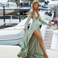 Повседневные платья женщины летнее платье 2021 длинный рукав сексуальный глубокий V-образным вырезом Сплит пляж вечерняя вечеринка Boho Maxi Vestidos