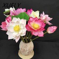 장식 꽃 화 환 빨간색 고급 인공 꽃 로터스 리프 식물 실크 봉오리 수련 결혼식 홈 장식 장식품