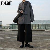 [EAM] Женщины черные нерегулярные расщепленные сустав длинные блузки отворота рукава свободная подходит рубашка мода весна осень 2021 1ddd1528 женские блузки рубашки