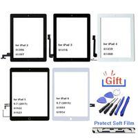 ل ipad2 iPad3 ipad4 ipad4 ipad5 ipad6 شاشة لمس الزجاج محول الأرقام الجمعية استبدال الشاشة الخارجي زجاج عدسة لوحة الجملة زر المنزل المنزل فليكس كابل + ic موصل