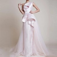 New Design Elegant satin ruffles overskirt Evening Dresses one shoulder Evening Gown Formal Pants Prom Party Dress