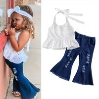 Kids Baby Girls Clothes Sets Summer Halter White Lace Vest Ripped Bell Bottom Denim Pants Jeans Children Outfits 1 6y