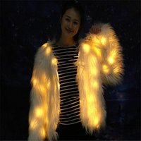 Party Decoration RE42 Ballroom Dance Led Light Costumes Women Fur Coat Stage Wears Luminous Jacket Bar Singer Perform Dress Clothe Dj Outfit