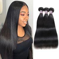 2021 Straight 3 PCS Unprocessed Brazilian Virgin Human Hair Bundles Peruvian Extensions For Women Girls Natural Black Color 8-28inch
