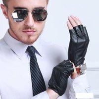 Mode Homme Demi-Doigt authentique en cuir véritable en peau de mouton conduite non doublée Glove Glove Femme de chèvre peau Court sport gym gym gym G69