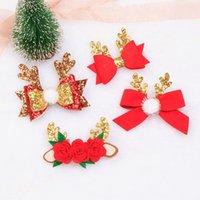 Haarschmuck Weihnachten Pailletten Haarnadeln für Mädchen nicht gewebt Blume Bogen Clip Pompons Geschenke Großhandel Kind Zubehör Kopfschmuck