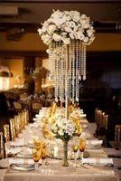 Parti Dekorasyon Altın Gümüş Kaplama Düğün Centerpiece Akrilik Boncuk Strands 60 cm Tall Kristal Çiçek Masa Dekor Için Standı