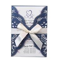 الظلام البحرية الليزر قطع جوفاء زهرة بطاقة دعوة الزفاف مع القوس عقدة الشريط لوازم حزب شخصية دعوات