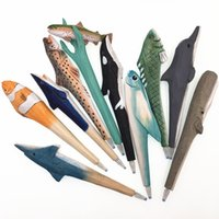 Ocean series, animal wood carving pen, student stationery, log manual creativity