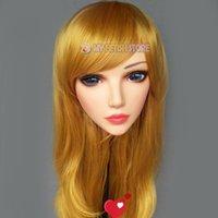 Festa máscaras (sha-01) feminina menina doce resina meia cabeça kigurumi máscara com olhos bjd cosplay japonês anime funde lolita crossdress boneca