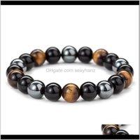 Perles, brosses bracelets goutte livraison 2021 Noir Onyx avec pierre naturelle Hématite Tiger Tiger Eye Perlé Bouddha Bouddha BraceletsBangles Juif