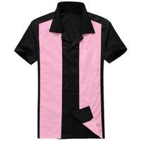 플러스 사이즈 남성용 남성 의류 짧은 소매 핑크 / 블랙 패치 워크 로커 빌리 스타일 캐주얼 코튼 블라우스 망 볼링 셔츠 210527