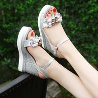 Women's Wedge Sandals Summer Bead Studded Detail Platform Buckle Strap Peep Toe Thick Bottom Casual Shoes Ladies