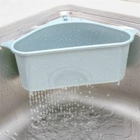 Küchen-Dreiecks-Waschbecken-Sieb-Drain-Gemüse-Fruite-Drainer-Korb Saugbecher Schwammhalter Lager-Rack-Sink-Filter-Regal 1171 V2